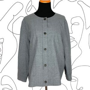 COS Gray Wool Button Up Collarless Jacket 12